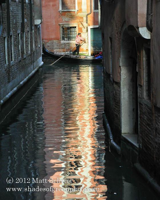 Gondolier in Sunlight, Venice, Italy