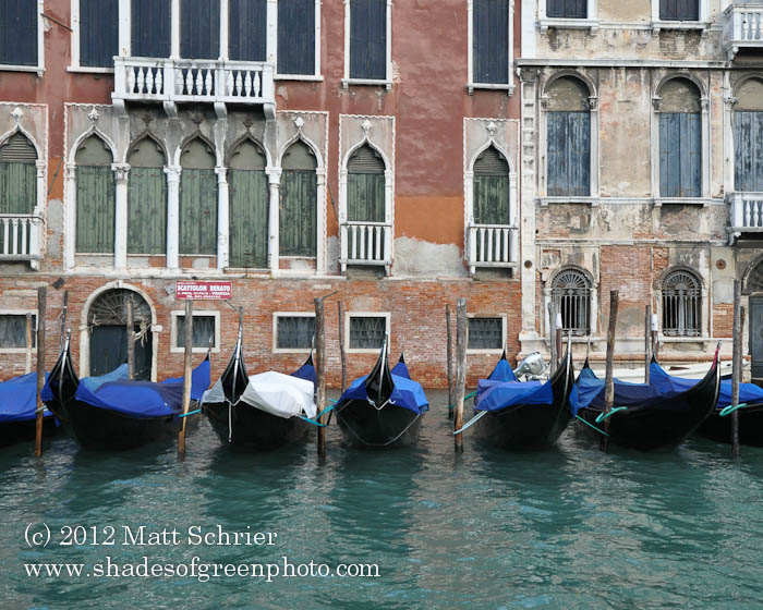 Gondolas Along the Canal, Venice, Italy