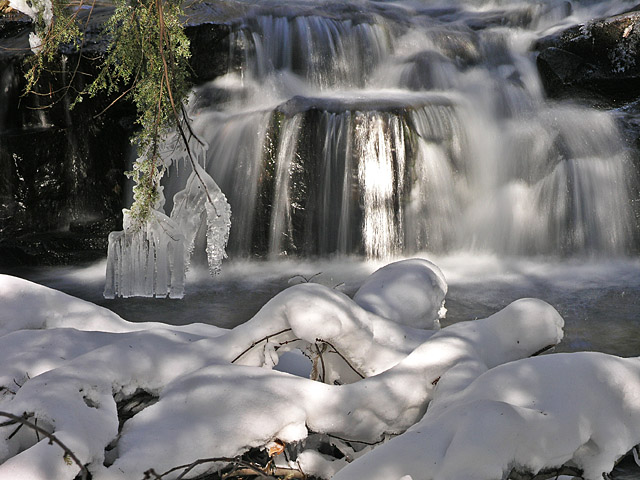 Wintry waterfall, Hickory Run Park, Pa